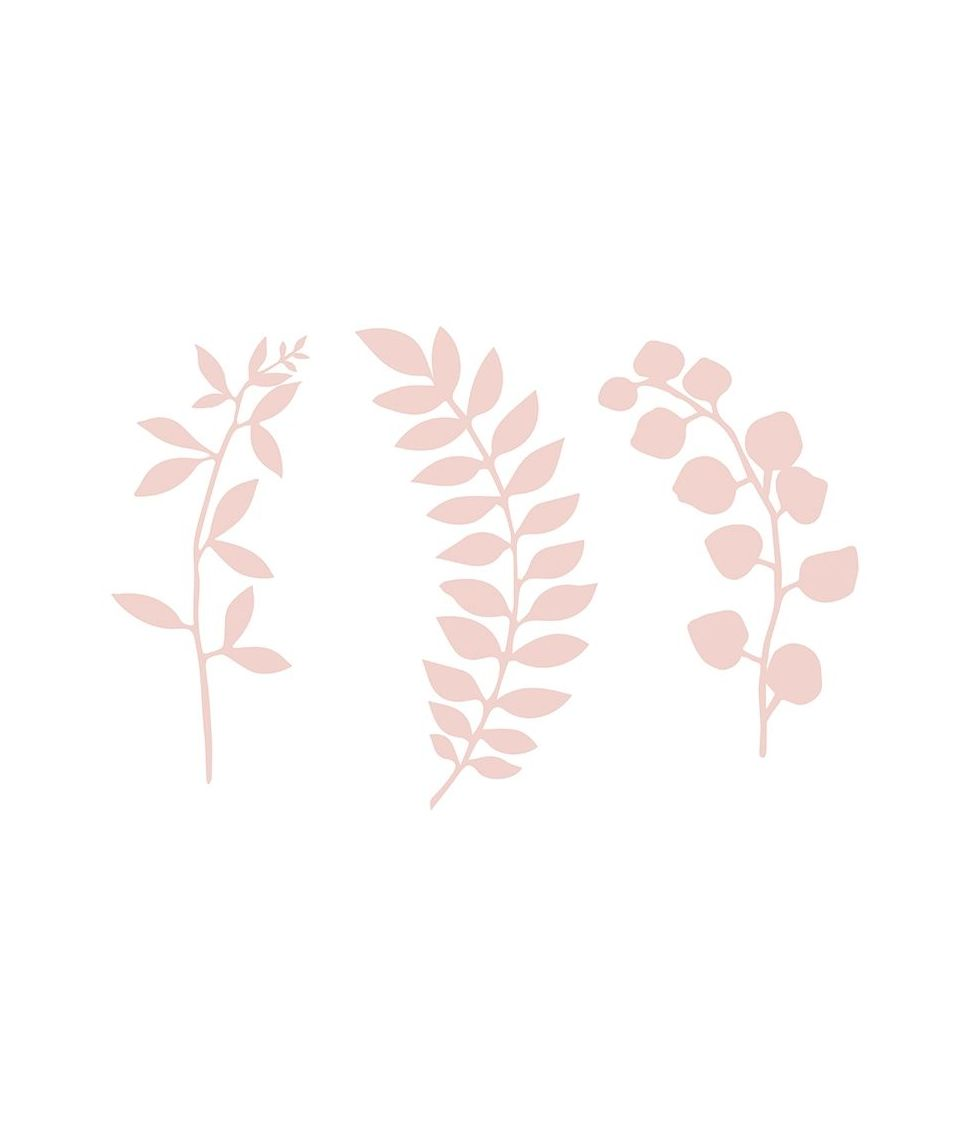 Rosa grene med blade dekorationer i papir.