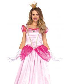 Flot klassisk pink prinsessekjole med matchende krone