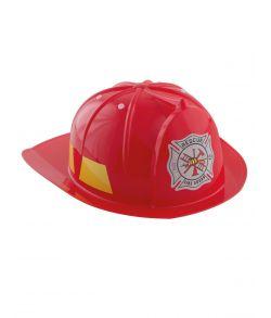 Rød brandmandshjelm i hårdt plast med justerbar inderrem.