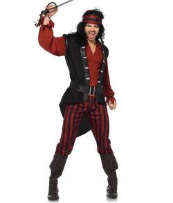 Flot sort og rødt piratkostume med bælte og matchende pandebånd