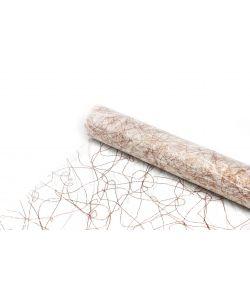 Hvid sizoweb bordløber med kobber tråde.