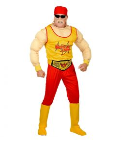 Sjovt wrestling kostume med muskelbluse, bukser og andet