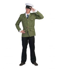 Army grøn Officer jakke med bælte til soldat udklædning.
