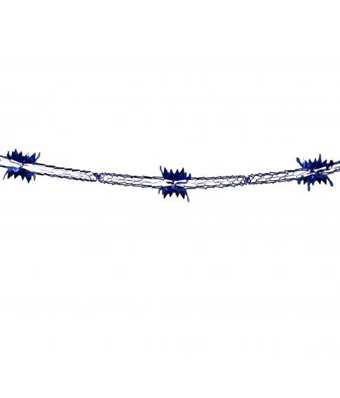 Flot blå folieguirlande, måler 4 meter