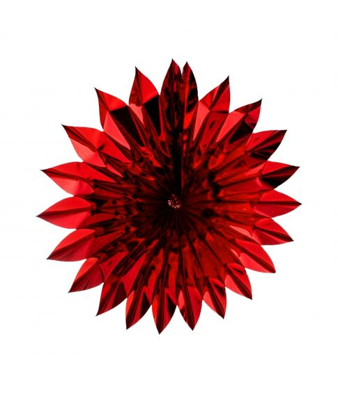 Flot rød sol i metalfolie, 60 cm diameter