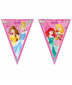 Disney Prinsesser guirlande i plastfolie med 9 vimpler.