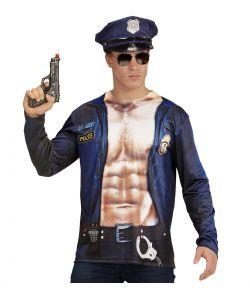 Sjov t-shirt med print af åben politi uniform