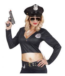 Sjov t-shirt med print af politi uniform med bar mave