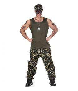 Soldat kostume med camouflage bukser, tank top og cap.