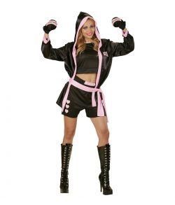 Bokser kostume med shorts, top, kappe med hætte og boksehandsker.