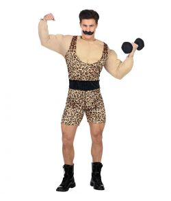 Sjovt stærk mand kostume med overalls, muskeltrøje, bælte og overskæg