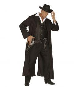 Lang sort frakke og sort vest til f.eks. cowboy udklædningen
