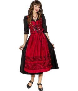 Flot sort tyrolerkjole med bordeaux forklæde til Oktoberfest.