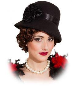 Sort Charleston hat i kraftigt blødt filt til 1920erne udklædningen.