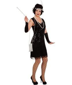 Sort Charleston kjole med frynser og sorte pailletter foran.