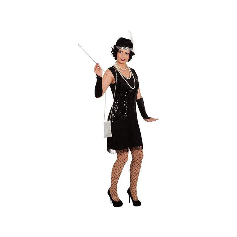 8f5154a07b3e Sort Charleston kjole med frynser og sorte pailletter foran.