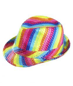 Flot farverig regnbue fedora hat med pailletter