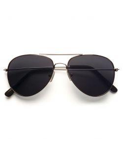 Billige pilotbriller med mørkt glas og sølv stel