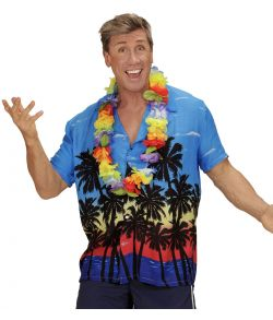 Flot multifarvet hawaii skjorte med palme motiv