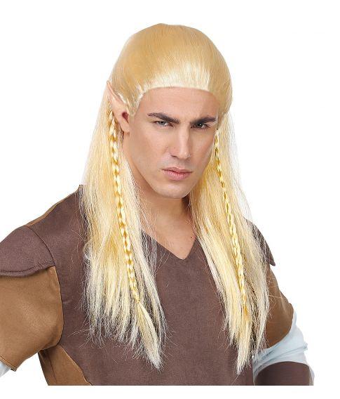Billig lang blond elverparyk med fletninger