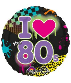 Flot folieballon med I love the 80s motiv