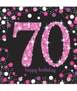 16 stk flotte 70 års fødselsdag servietter med pink og sølv motiv