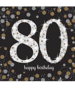 16 flotte 80 års fødselsdag servietter med sort, guld og sølv motiv