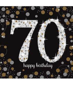 16 flotte 70 års fødselsdag servietter med sort, guld og sølv motiv