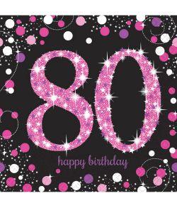 16 stk flotte 80 års fødselsdag servietter med pink og sølv motiv