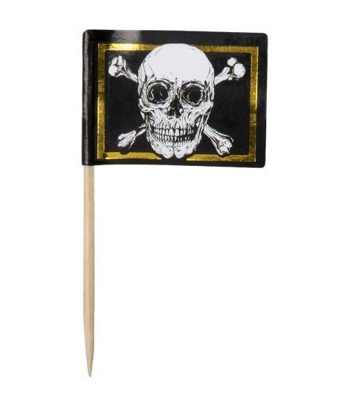 24 stk pirat kageflag med guldkant.