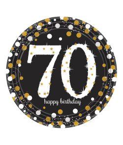 8 stk flotte 70 års tallerkner i pap med sort, guld og sølv motiv