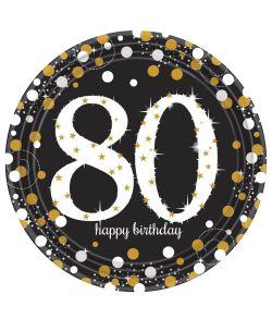 8 stk flotte 80 års tallerkner i pap med sort, guld og sølv motiv