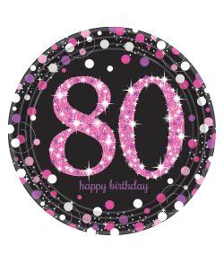 8 stk flotte 80 års tallerkner i pap med pink og sølv motiv