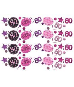 Flot pink Sparkling konfetti til 80 års fødselsdag