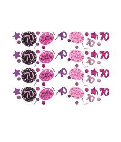 Flot pink Sparkling konfetti til 70 års fødselsdag