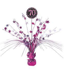 Flot pink borddekoration til 70 års fødselsdag