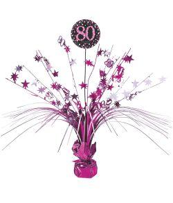 Flot pink borddekoration til 80 års fødselsdag