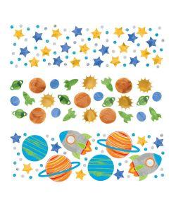 Flot konfetti med rumskibe, planeter og stjerner
