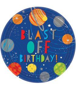 Flot Blast Off fødselsdagstallerken