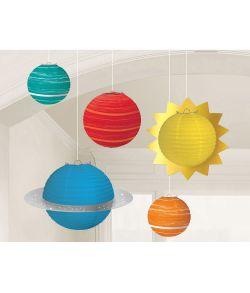 5 stk. flotte papir lanterner formet som sol og planeter