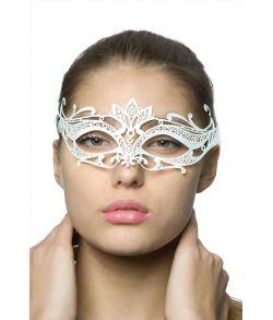 Hvid halvmaske i tyndt metal med snører til maskebal.