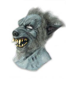 Grå Varulv maske med hår og store tænder.