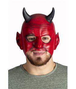 Rød djævle maske i gummi.