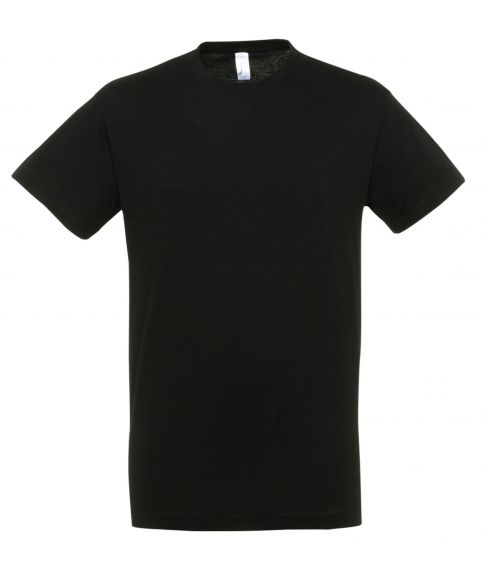Billig sort herre t-shirt med korte ærmer og rund hals.