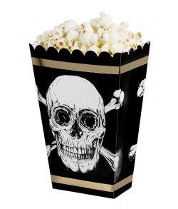 4 stk. flotte pirat popcornbægre i pap
