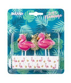 5 stk. små søde flamingo og ananas kagelys