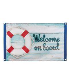 Flot marine flag i polyester med teksten 'Welcome on board'