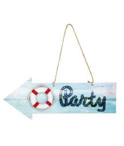 Billigt pileformet skilt med teksten 'party'
