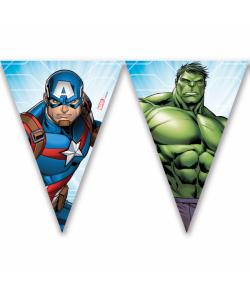 Avengers vimpelguirlande med 9 flag til børnefødselsdag.