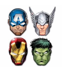 Avengers papmasker med elastik til børnefødselsdagen.